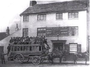 'A crowded horse omnibus outside the Old Bull's Head Hotel in Church St Eccles, in 1872'' (Courtesy of Salford Local History Library)